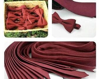 20% wine red ties,maroon,Summer-Fall wedding,dark red, crimson, scarlet,velvet,groom,groomsmen,men,linen,solid color,rustic vintage wedding