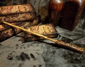 Wizard wand, magic wand, wood wand, hand crafted, woodburned, hand crafted, one of a kind