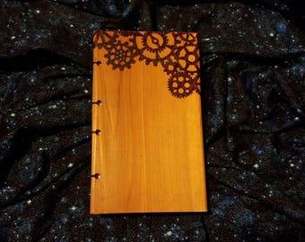Steampunk, wood book, coptic stitch, book, sketchbook, journal, storyteller, diary, wood burned, art, artist