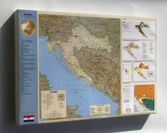 Canvas 24x36; Cia Summary Map Of Croatia 1996
