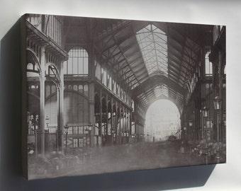 Canvas 24x36; Les Halles, Central Market, Paris, France. 1870