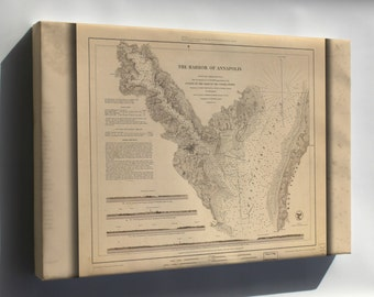 Canvas 24x36; Map Of Harbor Of Annapolis Maryland 1846