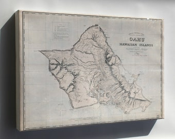 Canvas 24x36; Map Of Oahu Hawaii 1898