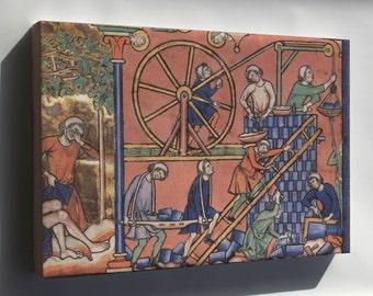 Canvas 16x24; Medieval Treadwheel Crane  Middle Ages 13Th Century Drawing Of A Treadwheel Crane