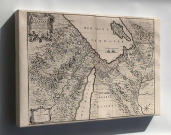 Canvas 16x24; Map Of Middle East Egypt Israel 1693