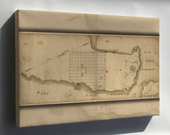 Canvas 16x24; Map Of Crown Point & Part Of Lake Champlain 1768