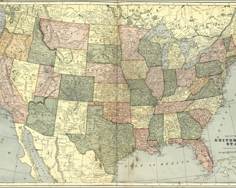 16x24 Poster; Map Of United States Of America 1906
