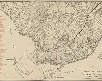 16x24 Poster; Map Of Rio De Janeiro Brazil 1941