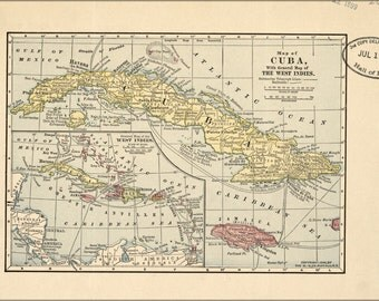 16x24 Poster; Map Of Cuba & West Indies 1899