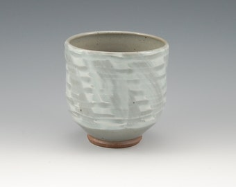 Celadon Yunomi Cup Tumbler Stoneware with Slip Decoration, Handmade Pottery Ceramic Green Gray Cup #285 14ounces
