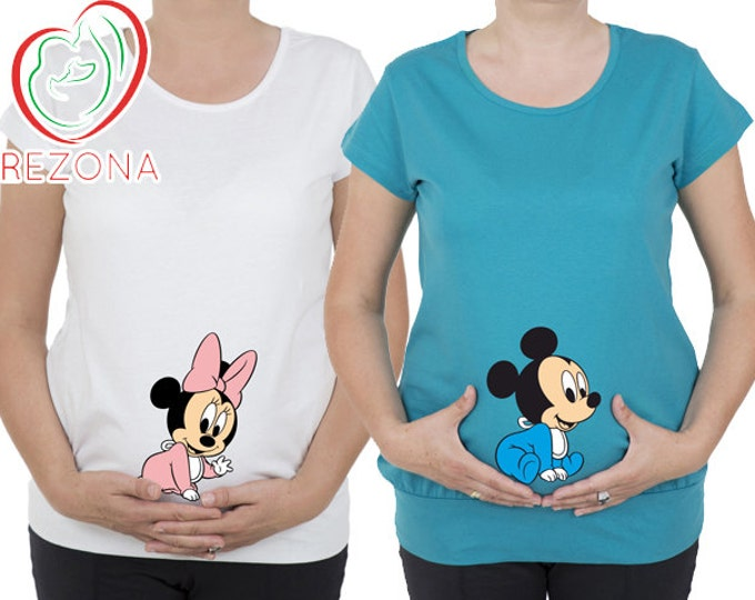 Maternity clothes, Maternity Clothing, Baby Mickey Mouse Minnie Maternity Shirt, MATERNITY Shirt,Peekaboo, Peeking Minnie,Baby Peeking