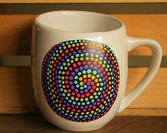Hand Painted Neon Spiral Mug