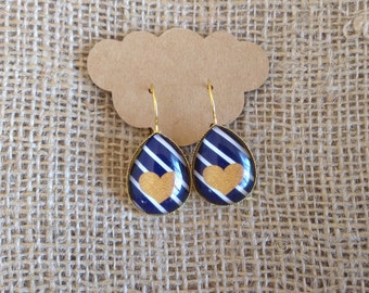 Gold Heart on Navy/White Striped Background Teardrop Earrings