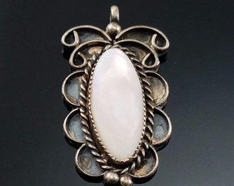 Vintage Native American Sterling Silver Abalone Shell Pendant Artisan Handmade Estate Jewelry