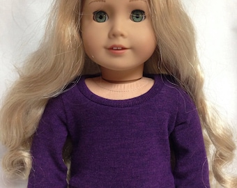 Soft purple boatneck sweater for 18 inch doll clothes