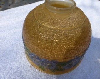 Vintage Antique Amber Glass shade with blue flowers