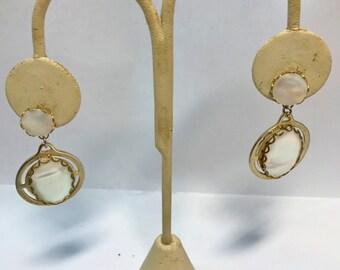 Pierced Earrings Vintage Mother Of Pearl Dangles