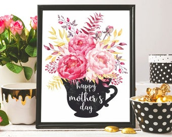 Mothers day print Mothers day card floral printable Happy mother's day printable Mother's day wall art Mother's day poster Mother's day gift