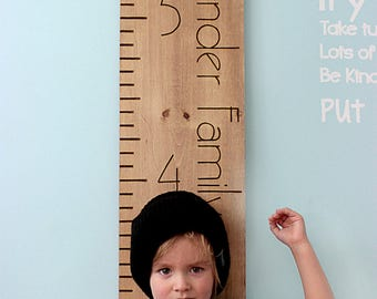 Growth Chart - Engraved Growth Chart Ruler - Growth Chart Wooden Ruler - Engraved Kids Height Chart - Family Growth Chart - Measuring Stick
