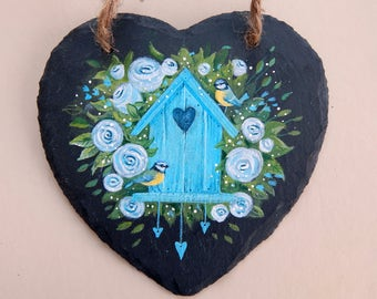 Blue Tit and Bird House - Painted Slate Heart