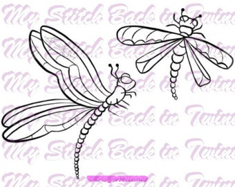 Digital stamp colouring image - Dragonflies. jpeg / png