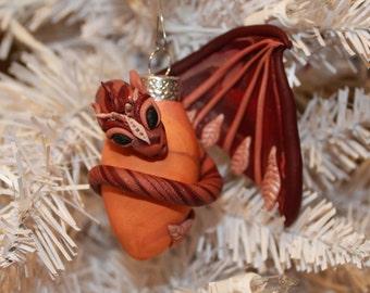 Maroon and Orange Autumn Dragon Ornament