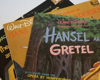 Set of 3 Classic Walt Disney Vinyl Albums - Hansel & Gretel - Hans Christian Andersen - The Seven Dwarfs (1960's)