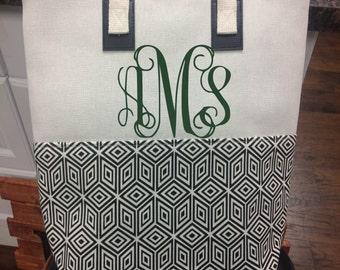 Aztec Diamond Canvas Monogram Tote Bag, Monogram Tote Bag, Personalized Tote Bag, Monogram Teacher Bag, Monogram Travel Bag, Canvas Tote Bag