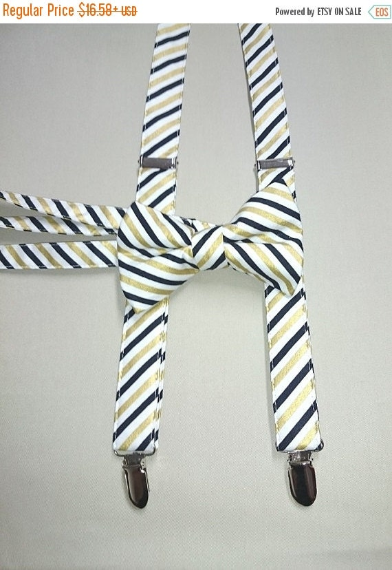 """Winter Sale Cotton/Metalic  """"Gold and Black Stripe""""   Suspenders   in Adult Size"""
