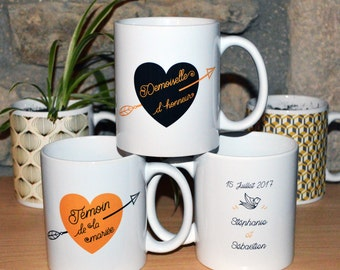 "Mug ""bridesmaid"" wedding, ""witness"" to the black and gold tones style customizable Bohemian boho"
