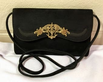 Sassy Handbags Vintage Art Deco Gold Metal Appliqué Black Velvet Flap Clutch Shoulder Bag