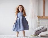 Girls dress-Linen dress-blue girl dress-checkered dress-girls summer dress-organic dress-girls easter dress-organic girls dress-linen kids