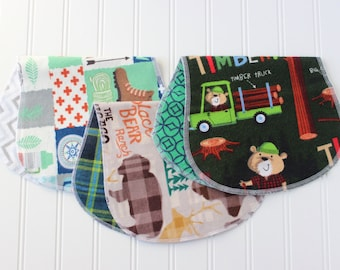 Baby Boy Burp Cloths - Set of 3 - Baby Shower Gift - Baby Gift - Woodland - Outdoors