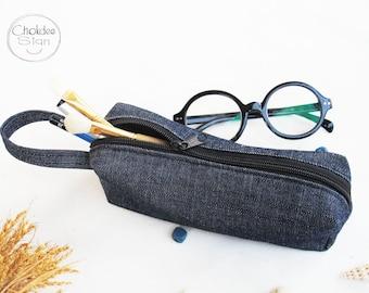 Jeans (denim) pencil case, drak blue pencil case, Pencil Case, Zipper Pouch, Small Cosmetic Bag.