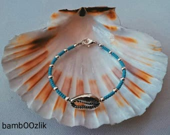Cowrie sea shell turquoise and silver bracelet UK