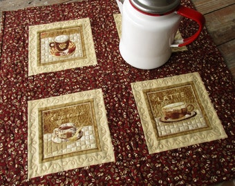 Quilted Table Topper, Square Table Runner, Coffee Lover Gift, Rustic Red Brown Wall Hanging, Housewarming Gift, Coffee Cafe Decor