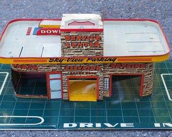 Vintage Auto Garage Service Center, Sky Parking, Auto Repair, Car Wash, Marx 24 Hour Service, Tin Toy, Lithography. WAS_125.00