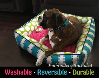 Bolster Dog Bed   Durable Dog Bed   Washable Pet Bed   Custom Cat Bed   Free Personalized Pet Name   Large Dog Bed   Home Decor   Pet   Cat