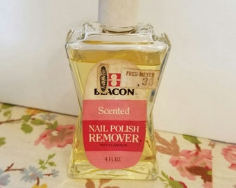 Vintage beacon scented nail polish remover 4 fluid oz collectible glass bottle vc7
