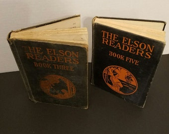 Set of 2 the elson readers book three 1927 and book five 1920