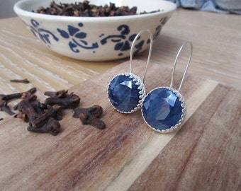 Natural blue sapphire earrings-14 mm faceted african sapphire earrings-Royal blue gemstone earrings-September birthstone earrings