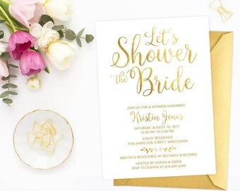 Gold Bridal Shower Invitation, Printable Bridal Shower Invitation, Let's Shower the Bride Invitation, Faux Gold Foil Digital Invite, GFBRS