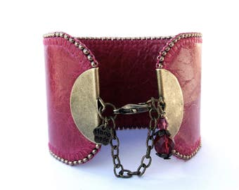 Leather Cuff bracelet embroidered pearls, Pink Leather Bracelet Fuchsia raspberry