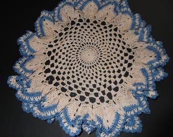 Gorgeous Handcrafted Vintage Ecru and Blue Shabby Chic Doilies Estate Sale Vintage Linen