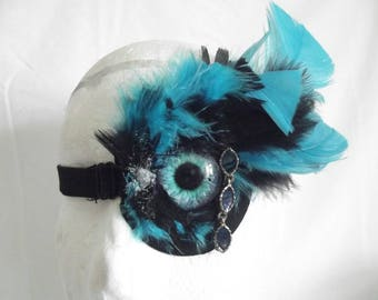 Punked Living Aids: Customised medical eyepatch blue eye blue and black theme Cosplay Burlesque Fancy Dress, handmade in uk, FREE P&P in uk