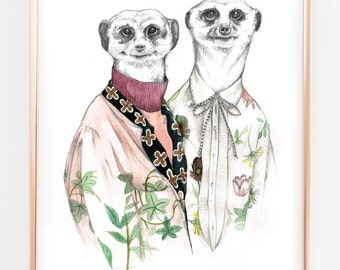 Illustration print Meerkats