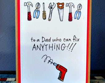 The Tool Man Card, Card From Kids, Handyman Card For Dad, Masculine Greeting, Birthday Fathers Day Card, To Grandpa, DIY Fix It, Drill Saw