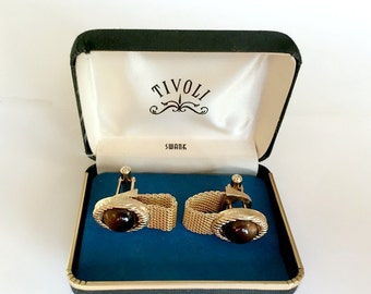 Vintage Tivoli Swank  Cuff Links Shiny Gold Tone with Mesh Brown Faux Stone in Orginal Black Box
