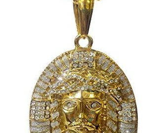 18k Gold Plated Iced Out Stainless Steel Jesus Face Pendant Necklace