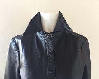 Parallel Black Soft Leather Shirt Jacket